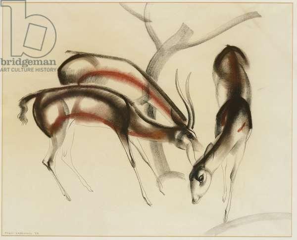 Antelopes Feeding (pastel on paper)