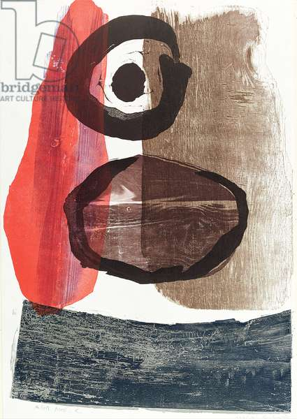 Red and Dark Blue, 1963 (colour woodcut, linocut & coloured inks on Japan paper)
