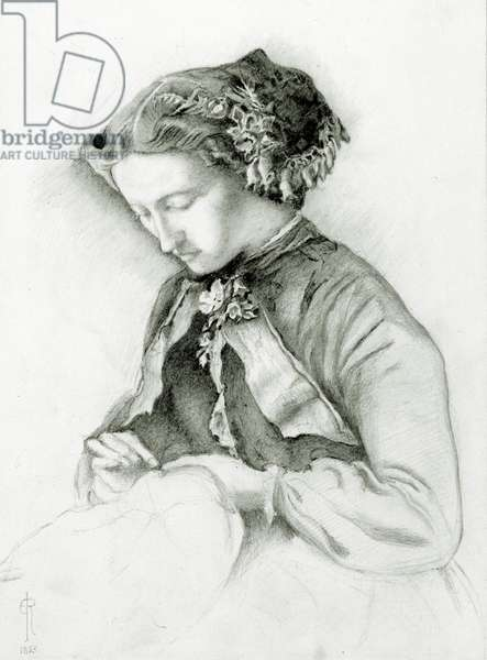 Portrait of Effie with Foxgloves in her Hair (The Foxglove) 1853 (pencil on paper)