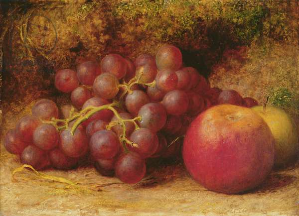 Still Life with Apples and Grapes, c.1860 (oil on panel)