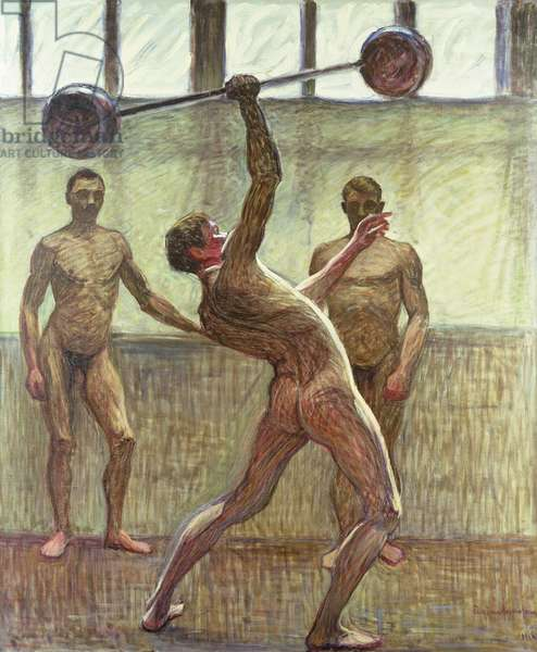 Lifting Weights with One Arm Number 2, 1914 (oil on canvas)