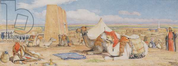 The Caravan - An Arab Encampment at Edfou, c.1861 (w/c over pencil heightened with white)