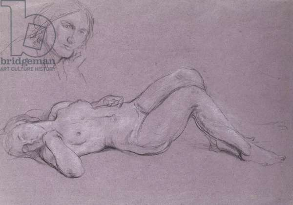 Study of a reclining nude female figure, with a study of a woman's head resting on her hand (chalk on paper)