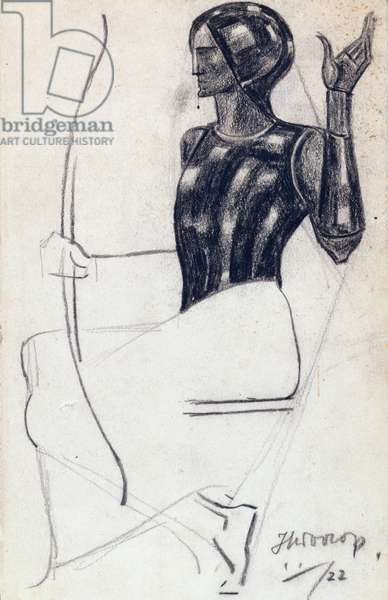 Seated female archer, 1922 (chalk on paper)