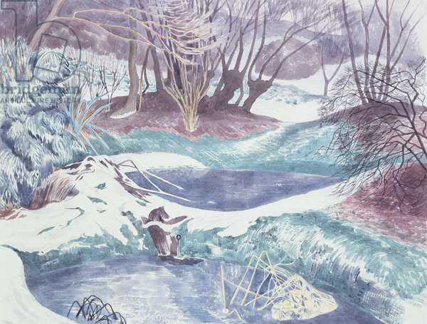 Frozen Ponds, 1959 (w/c & pencil on paper)