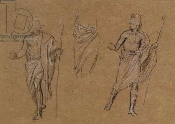 Study of shepherds, c.1875 (chalk on paper)