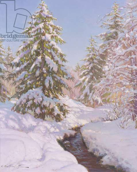 Snow scene in France (oil on canvas)