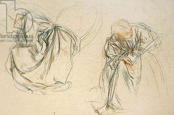 Studies of a seated woman reading (paper)