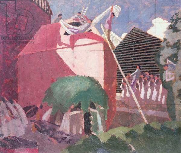 The paralytic being let into the top of his house, c.1922 (oil on panel)