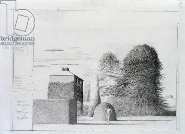 Sketch for the Badminton Game, 1972 (pencil on paper)