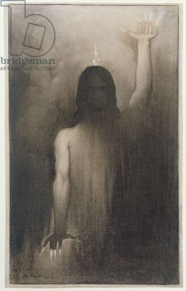 Christ, for 'Christ between Lucifer and Ahriman', c.1913 (charcoal with white chalk on paper)