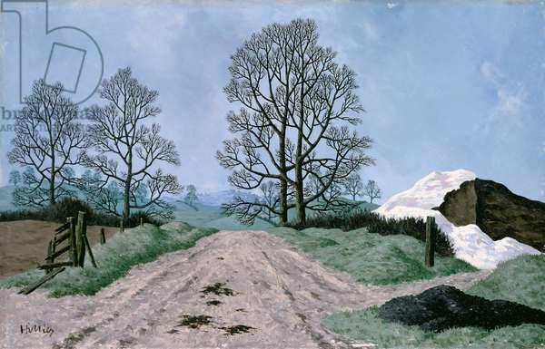 A Somerset Lane, 1967 (oil on panel)