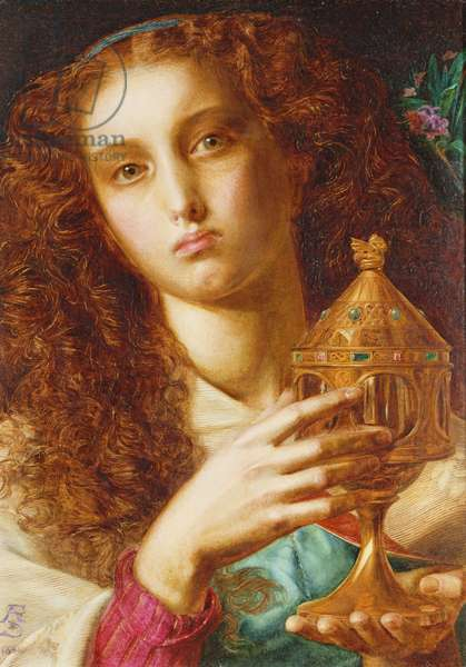 King Pelles' Daughter bearing the Sancgraal, 1861 (oil on panel)