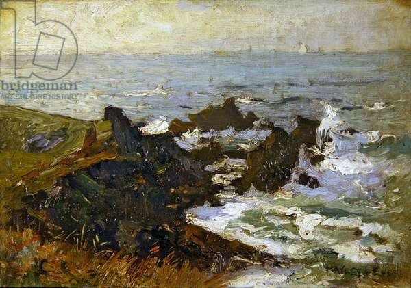 Coastal Landscape (oil on canvas laid on board)
