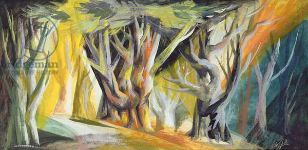 The Enchanted Wood, 1947 (gouache and oil on board)