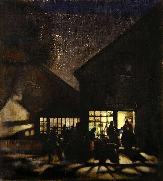 Street Scene by Night (oil on canvas)