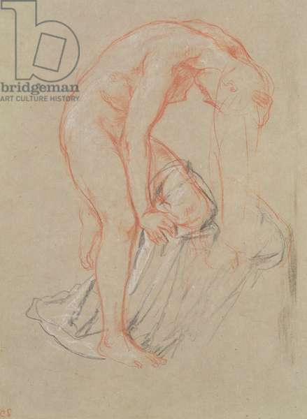 Woman undressing (chalk on paper)