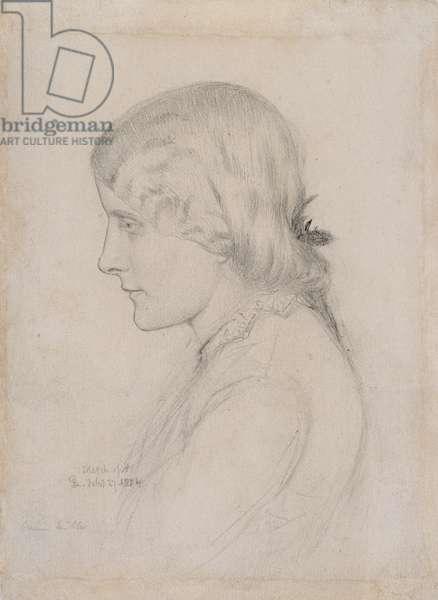Portrait of Annie Miller, 1854 (pencil on paper)