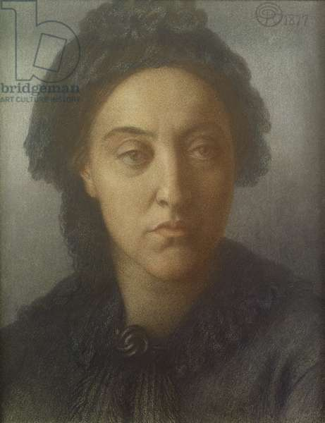 Christina Rossetti, 1877 (coloured chalks on paper)