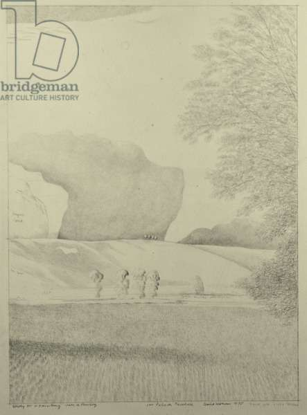 Study for the Vale of Pewsey, 1975 (pencil on paper)