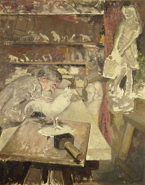The sculptor Francois Pompon in his studio, c.1910 (oil on canvas)
