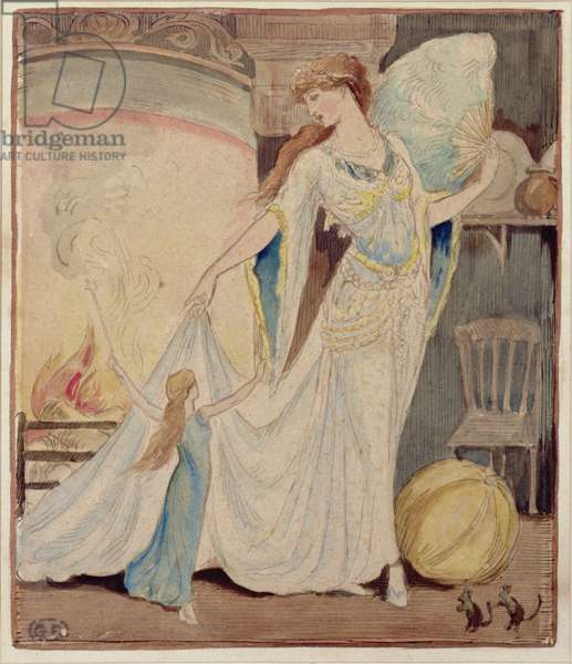 Illustration for 'The Slippers of Cinderella', c.1919 (w/c, pencil & ink on paper)