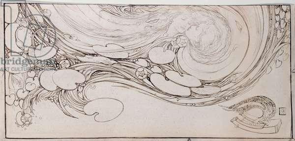 An Echo from Willowwood, 1890 (pen & ink on vellum)