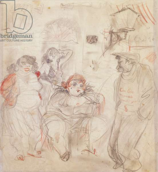 Nightlife - French Style, 1937 (pencil & crayon wash on paper)
