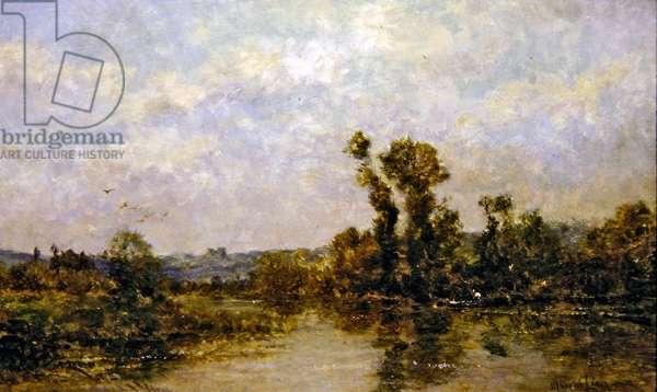 Petit bras de la Seine a Etiolles (oil on panel)