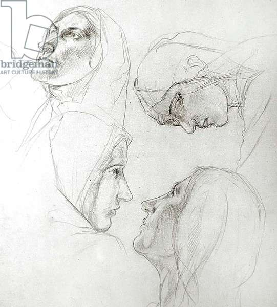 Study for the Wise and Foolish Virgins, 1920 (pencil on paper)