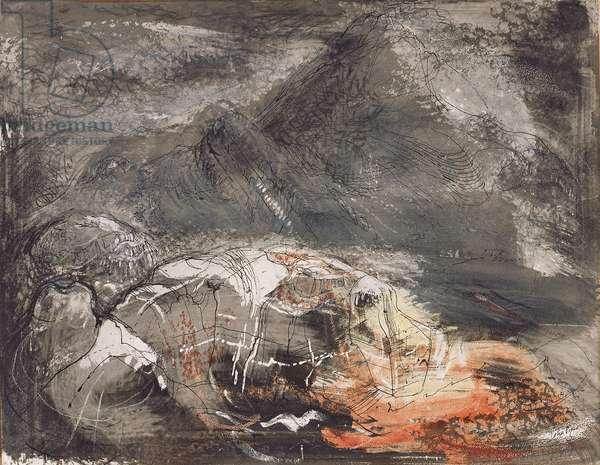 Near and Far Rocks, Tryfan, c.1948 (w/c & ink on paper)
