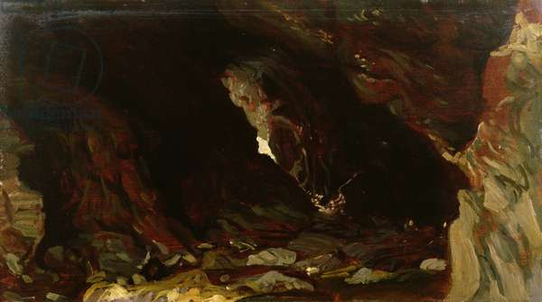 Cave, Tintagel (oil on board)