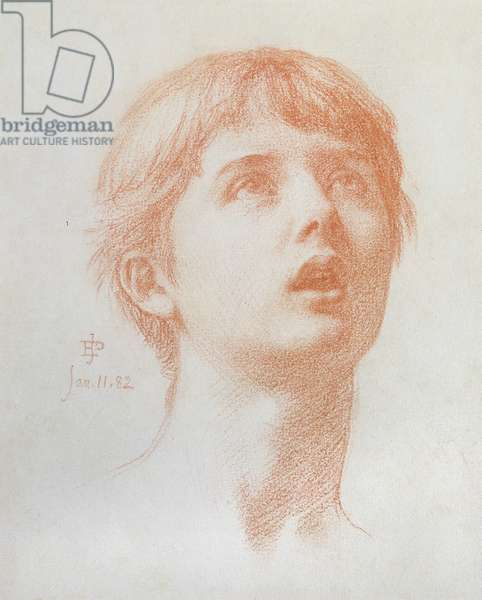Angel's head - study for the mosaic in St Paul's, 1882 (chalk on paper)