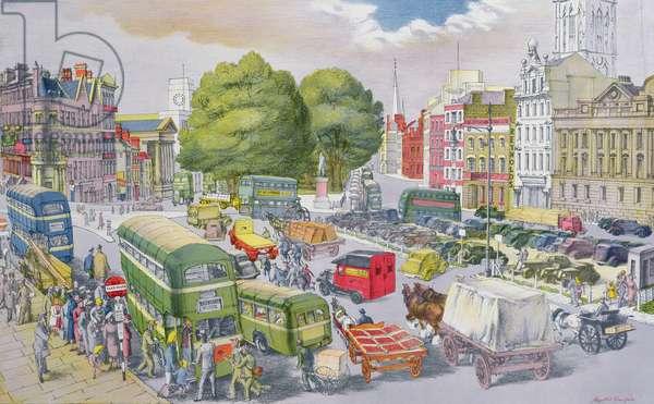 Town Centre, Bristol (colour litho)