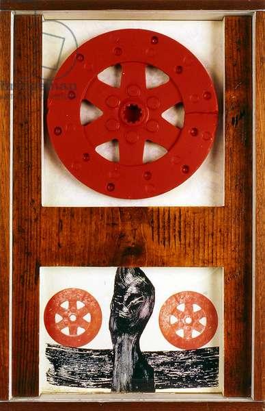 Red Wheel, c.1970 (wood, reproduction of screen print & painted metal wheel)