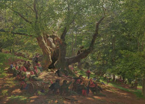Robin Hood and his Merry Men in Sherwood Forest, 1859 (gouache & gum arabic on paper)