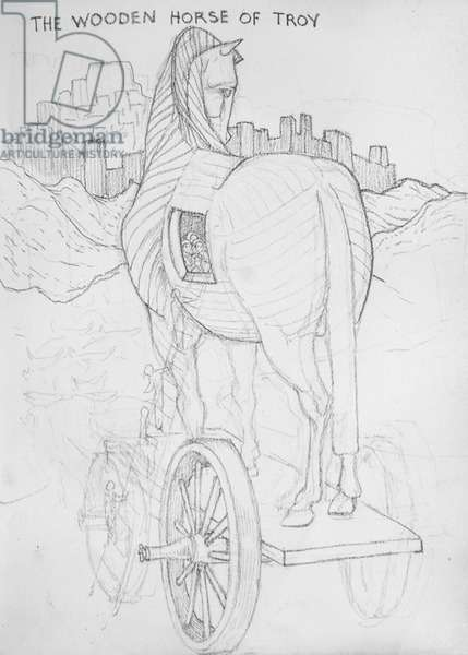 The Wooden Horse of Troy (pencil on paper)