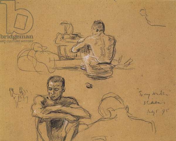 Study for 'The Last Trek', 1895 (charcoal on brown artist's board)