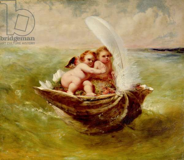 Cupids in a Shell, c.1855-59 (oil on panel)