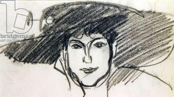 Anne Estelle Rice in a broad-rimmed hat, Paris (conte crayon on paper)