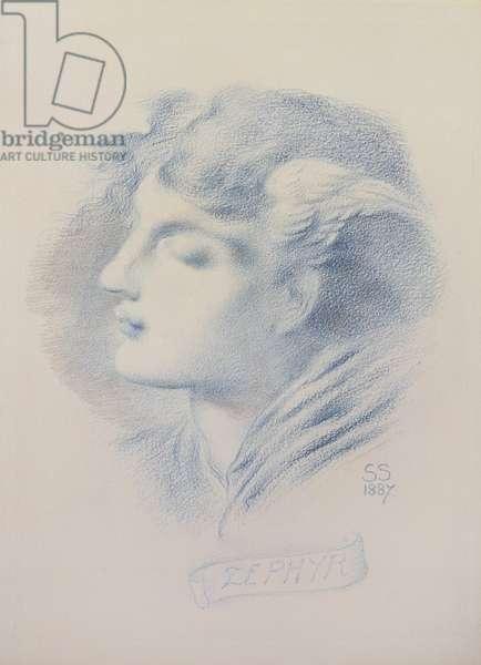 Zephyr, 1887 (blue crayon & pencil on paper)