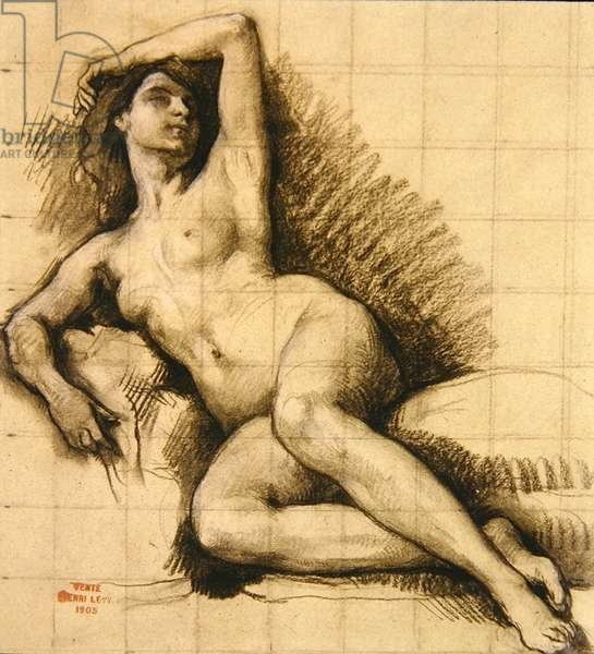 Study - Recling Female Nude, 1905 (chalk on paper)