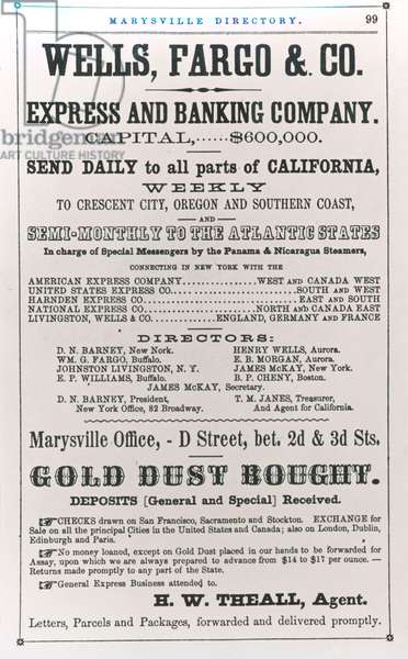 Wells Fargo & Co. advertisement of 1856 (litho) (b/w photo)