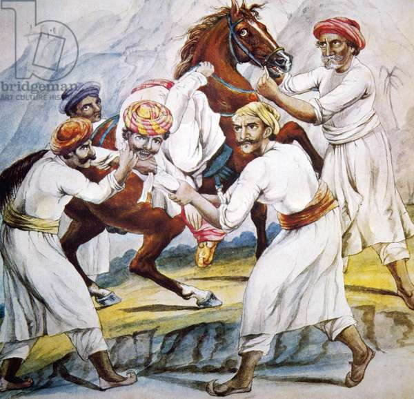 A group of Thugs attacking a victim (colour litho)