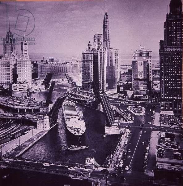 Cargo Ship passing through Chicago River, 1952 (b/w photo)