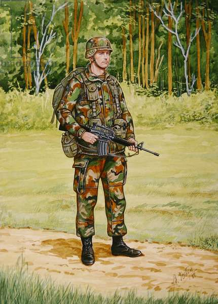 Uniforms of the United States Marine Corps: Marine in combat dress, 1989 (w/c on paper)