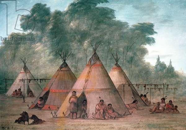 Sioux Village (oil on canvas)