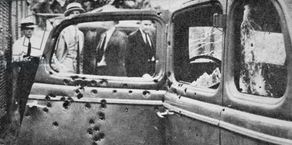 Bonnie and Clyde's bullet-riddled car, 1934 (b/w photo)