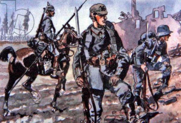 German uniforms, Western Front, 1916 (colour litho)
