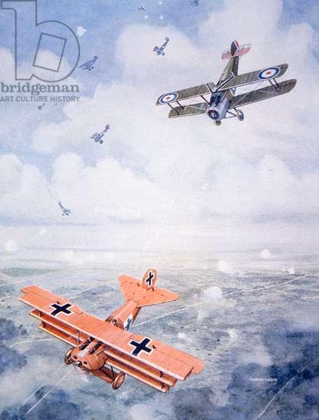 The Last Flight of Captain Baron von Richthofen, c.1920 (colour litho)